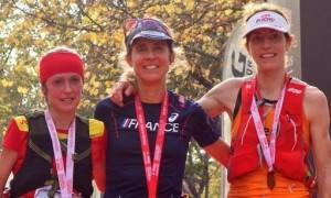 Chaverot, Ragna und Debats: Spitzen-Bergläuferinnen bei der Transvulcania 2017. Foto: TRV Rennleitung