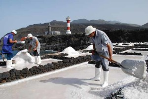Salzernte in den Salinen von Fuencaliente: