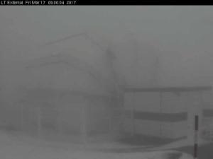 Die Observatorien am Freitagmorgen: haben ein weißes Häubchen. Foto: Webcam Roque
