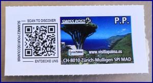 Swiss Post-Prepaid Sticker: unterscheidet sich deutlich von den Correos-Briefmarken. Sogar das Inseltourismusamt von La Palma wirbt hier für seine Internetseite. Foto: La Palma 24