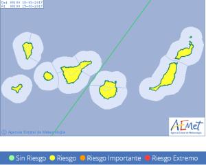 Starkregen am Samstag Alarm Gelb: Auf dem Roque dürfte es dann weiterschneien. Grafik AEMET