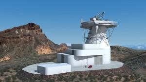 Modell des EST: Jetzt wird konkret geplant und eine Studie erstellt, ob das Solar-Tele auf La Palma oder auf Teneriffa gebaut wird. IAC-Pressefoto