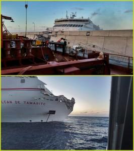 Bild 1: Die Armas steckt in der Hafenmauer: Zum Glück nur ein verletzter Passagier. Bild 2: Die schäden an der Fähre können repariert werden. Fotos: EmergCan