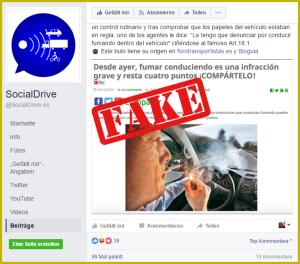 Immer wieder in den sozialen Netzwerken: Die Fakenews übers Rauchverbot im Auto in Spanien.