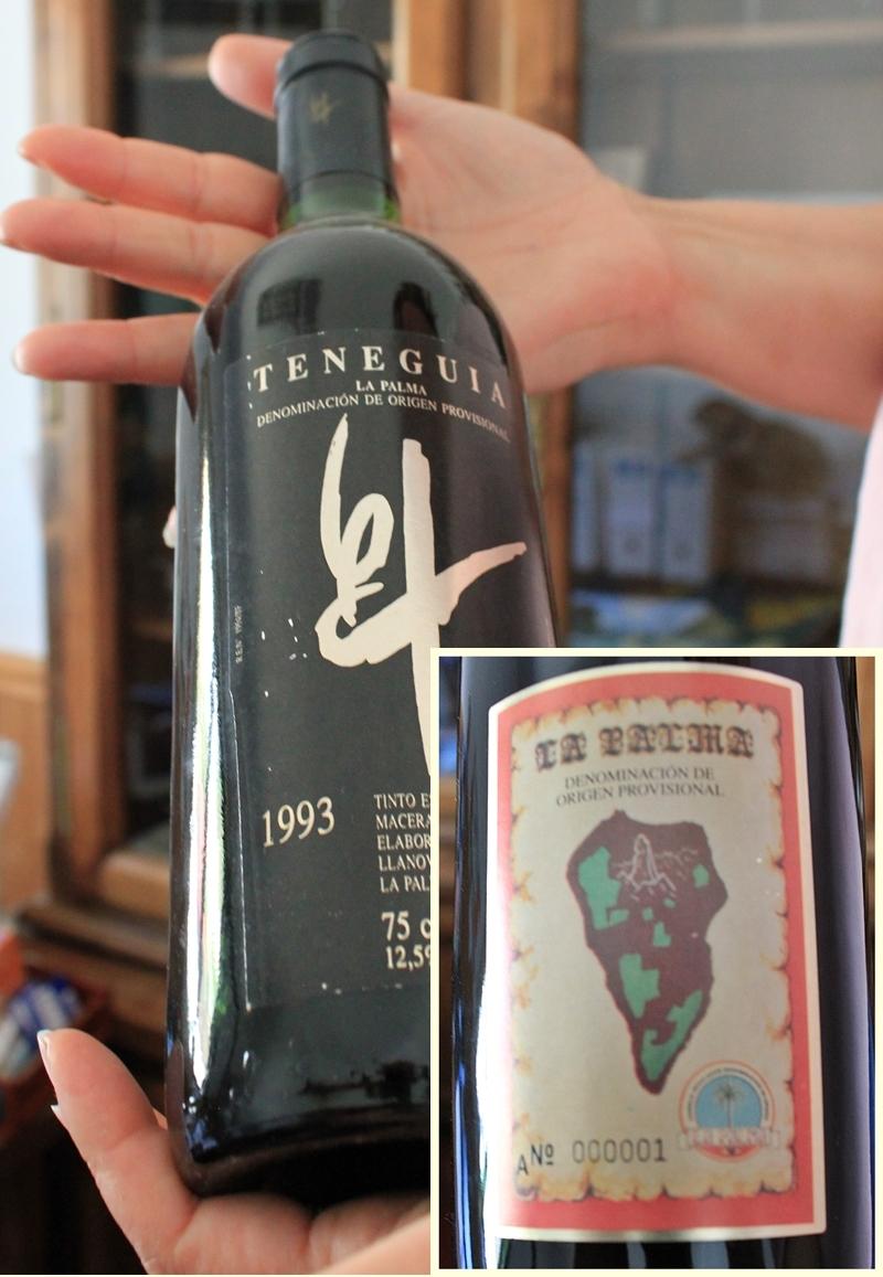 Die erste 1993 abgefüllte Flasche mit dem Vinos de la Palma-DO-Etikett: