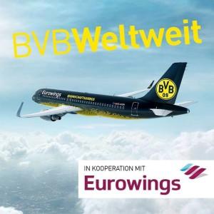 Eurowings: Auch die BVB-Kicker fliegen mit dieser Airline. Pressefoto Eurowings