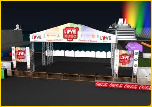 Die Bühne des Love Music Festivals in Tazacorte: Den ersten beiden Siegern des Wettbewrebs winkt ein Auftritt zwischen den Stars.