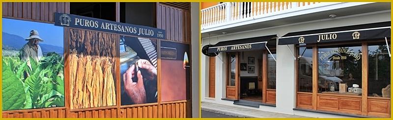 Puros Artesanos Julio: Das rechte Foto zeigt das Geschäft von außen, das linke das daneben befindliche Lager. Wer sich die kunsthandwerkliche Herstellung der Puros Palmeros anschauen will, findet die Manufaktur so: Auf der Hauptstraße von San Pedro aus Richtung Süden kommend gleich nach dem Zigarrenmuseum in links abbiegen und sofort wieder rechts hinein in die kleine Calle Cabaiguán. Auf den Lageplan oben klicken, dann kann man es sich besser vorstellen. Fotos: La Palma 24