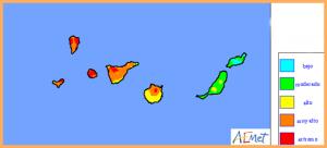 Das Waldbrandrisiko auf La Palma nimmt derzeit täglich zu: Hier die Karte der AEMET für Sonntag, 16. Juli 2017.