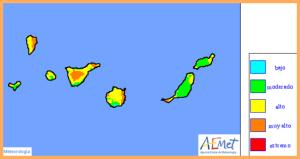Waldbrandrisiko-Karte der staatlichen Wetteragentur AEMET: Am Donnerstag, 13. Juli 2017, liegt La Palma im gelb-orangenen Bereich.