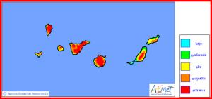Allerhöchste Vorsicht ist geboten: Das Waldbrandrisiko auf La Palma liegt im extremen Bereich! Grafik: AEMET