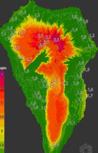 Neu: Echtzeit-Karte zum Waldbrandrisiko auf der Cacildo-Karte unter der Internetadresse http://lapalma.hdmeteo.com