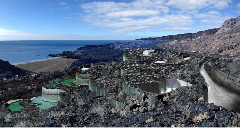 So soll das Heilbad der Fuente Santa an der Playa Echentive im Süden von La Palma einmal aussehen: Basis sind die Pläne des