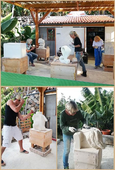 Bildhauerkurse bei Jürgen Risse auf La Palma: So sieht das aus, wenn die Teilnehmer ihrer Schaffenskraft freien Lauf lassen.