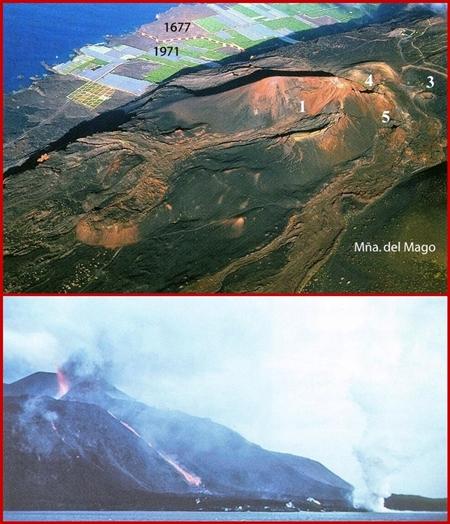 1971 und heute: Die Lava des Teneguía schuf neues Land. Fotos: zur Verfügung gestellt von