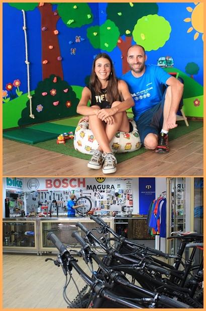 Philipp und seine Lebensgefährtin Acerina in ihrem Office in Puerto Naos: Jede Menge Platz für die Bike-Reparatur und zum Fachsimpeln. Fotos: La Palma 24