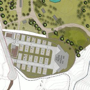 Plan des Parks für Karavan-Touristen in Barlovento: Stellplätze und Serviceeinrichtungen im Anschluss an der Erholungspark von La Laguna.