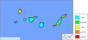 Die Risikografik der AEMET zeigt es: Die Waldbrandgefahr auf La Palma ist immer noch hoch!