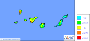 """Waldbrand-Risiko-Karte der staatlichen Wetterkarte AEMET: Auch wenn das Risiko von Rot in den vergangenen Wochen auf teilweise sogar """"niedriges"""" Blau zurückgegangen ist, hat es auf Gran Canaria gebrannt. Auf La Palma gilt weiterhin maximale Vorsicht, denn Gelb bedeutet """"hohes Risiko""""."""