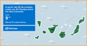 """Binter und Canaryfly bekommen Konkurrenz: Zum 30. Oktober 2017 reiht sich Air Europa in die Flotte der """"Inselhüpfer"""" auf den Kanaren ein."""