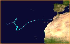 Der Verlauf von Hurrikan Delta im Jahr 2005:
