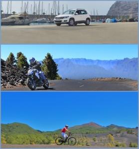 Für Leute, die Wert auf ständig gewartete und gepflegte Fortbewegungsmittel legen: Autos, Motorräder und E-Bikes von La Palma 24.