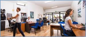 """Die Zentrale von La Palma 24 in Todoque: Im """"Headquarter"""" laufen alle Drähte zusammen, und es herrscht ständig Betrieb."""