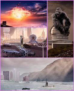 Ufo über La Palma, King Kong auf dem GTC, Tazacorte im Jahr 2500, der Norden versinkt im Atlantik: Diese von Rodolf Crowed designten Plakate werben derzeit auf der