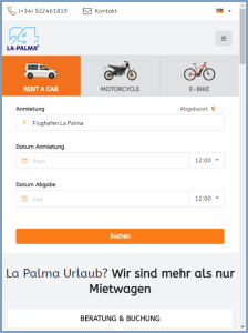 Handy-Version der neuen La Palma 24-Website: übersichtlich!