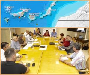 Die Serie von Microbeben und kleinen Erdstößen auf La Palma und den Kanaren in den vergangenen Tagen wurden von einer Expertenrunde ausgewertet: Unter dem Vorsitz der Vizeministerin für Umwelt und Sicherheit, Blanca Pérez, berieten sich gestern abend folgende Spezialisten und Organisationen: Directora de Seguridad y Emergencias, Nazaret Díaz; Subdirector de Protección Civil y Emergencias, Néstor Padrón; Subdelegado del Gobierno en Santa Cruz de Tenerife, Guillermo Díaz Guerra; María José Blanco, Instituto Geográfico Nacional (IGN); Nemesio Pérez, Instituto Volcanológico de Canarias (Involcan); Vicente Soler, Consejo Superior de Investigaciones Científicas (CSIC); Inés Galindo, Instituto Geológico y Minero de España (IGME); Eugenio Fraile, Instituto Español de Oceanografía (IEO); Francisco Pérez Torrado, ULPGC, sowie Techniker der Dirección General de Seguridad y Emergencias.