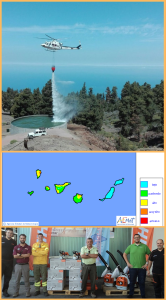 Waldbrandsaison auf La Palma: Die gelben Engel der BRIF mit ihren in diesem Jahr erstmals weißen Helis (oben) sind abgezogen