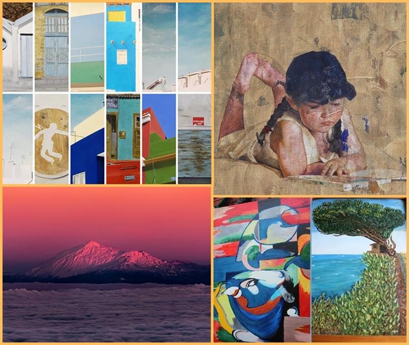 Ganz verschiedene Stile in den Galerien auf La Palma (von links oben nach rechts unten): Achim Mogge, Pedro Fausto, Giovanni Tessicini und Sabine Niemann.