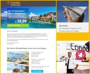 """""""Besonderangebote"""": Die findet man über den Condor-Preisalarm oder den Newsletter."""