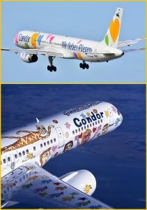 Zu ihrem vierzigsten Geburtstag gönnte sich die Condor ein besonders großes Geschenk. Sie ließ die Boeing 757-200 mit dem Kennzeichen D-ABNF von dem amerikanischen Pop-Art-Künstler James Rizzi in ein fliegendes Kunstwerk verwandeln Condor Boeing 757-230, ca. 1996 Air to Air