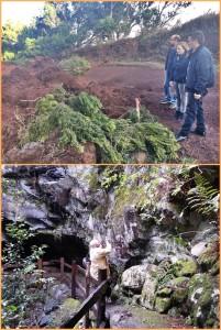 Regenschäden in Garafía: Nieves Lady Barreto bei der Besichtigung (Foto oben). Das untere Bild zeigt, dass die Petroglyphen in La Zarza unbeschädigt blieben.
