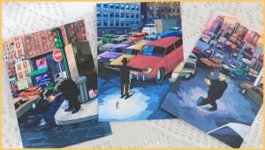 Kann man verschicken oder einrahmen: Manu Marzáns Blumenmann auf Postkarten zum Preis von einem Euro.