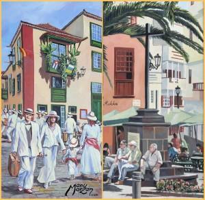 Auch das ist Manu Marzán: Gemälde in Öl und Acryl mit Motiven aus Santa Cruz de La Palma.