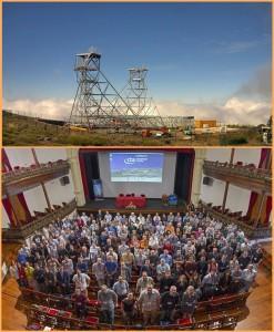 LST-Prototyp auf dem Roque (Foto oben): fehlt nur noch das Spiegel-Panel - das CTA-Konsortium war bei seinem Kongress auf La Palma zufrieden (Foto unten). Pressefotos IAC