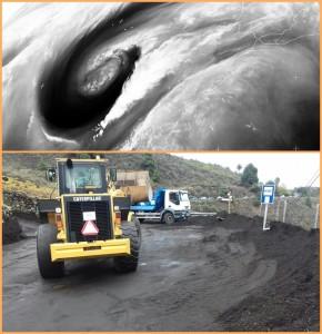 Das dicke Tief über dem Atlantik traf La Palma nicht so schlimm wie erwartet: Allerdings wurden wieder einige Straßen überschwemmt, die Einsatzkräfte des Cabildo sofort räumten. Fotos: Asociación Canaria de Meterología/Jorge González Cabrera