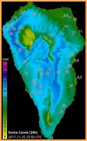 Niederschlagsmengen am Samstag, 25. November 2017, auf La Palma: Grafik erstellt von HDmeteo La Palma.