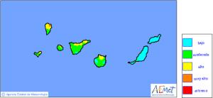 Waldbrand-Risikokarte der AEMET: Die Hälfte von La Palma liegt immer noch im gelben, also hohen Gefahrenbereich.