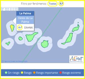 Gelbe Wetterwarnung im Westen und auf den Höhen von La Palma: Die AEMET-Grafik zeigt Gelb.