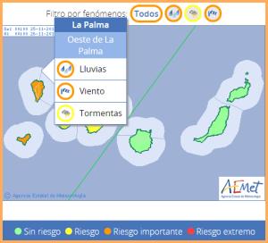 Vorwarnstufe Orange für ganz La Palma: Starkregen und Wind sind angesagt. Grafik: AEMET