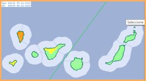 La Palma: Alarm orange wegen Regen. AEMET-Grafik