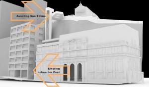 Der geplante Stadtlift: von der Plaza de la Concepciín 35 Höhehnmeter hinauf direkt zur Kirche von San Telmo.