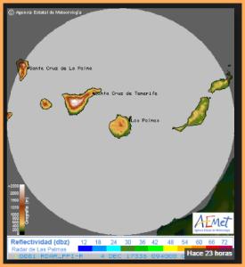 Bisherige Erfassung der Inseln durch das Wetter-Radar auf Gran Canaria: Man sieht deutlich, dass der Nordwesten von La Palma und der Westen von El Hierro nicht erfasst werden. Das soll sich durch die künftige Station auf Teneriffa ändern. Grafik: AEMET