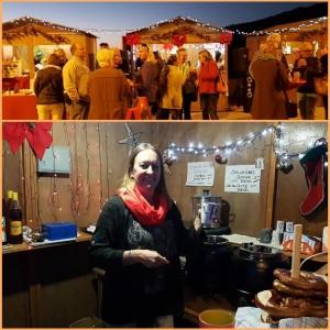 Im Badeort Tazacorte auf La Palma: Einen Weihnachtsmarkt am Meer genießen kann man auch nicht überall... Mit dabei ist der multikulturelle Verein La Banana mit Gaby (Bild unten). Fotos: Gemeinde