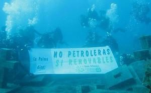 Ben Magec-Bild von den Protesten 2014/15 gegen die Repsol-Probebohrungen: Die Umweltschützer fürchten auch die Sondierungen von Marokko.