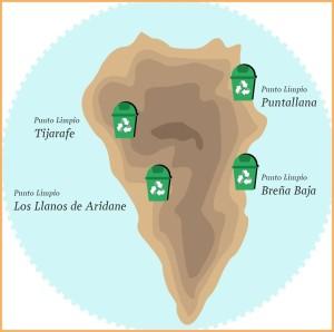 Auf einen Blick: Die Puntos Limpios sind in Ost und West verteilt.
