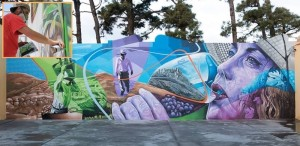 Mathías Mata alias Sabotaje al Montaje: Der Graffiti-Man hat jetzt auch die Bodegas Teneguía verschönert.